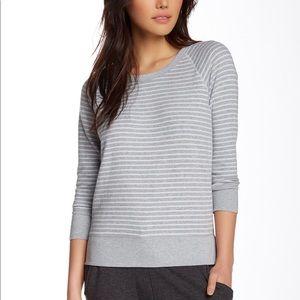 Striped Heathered Raglan Pullover Sweatshirt